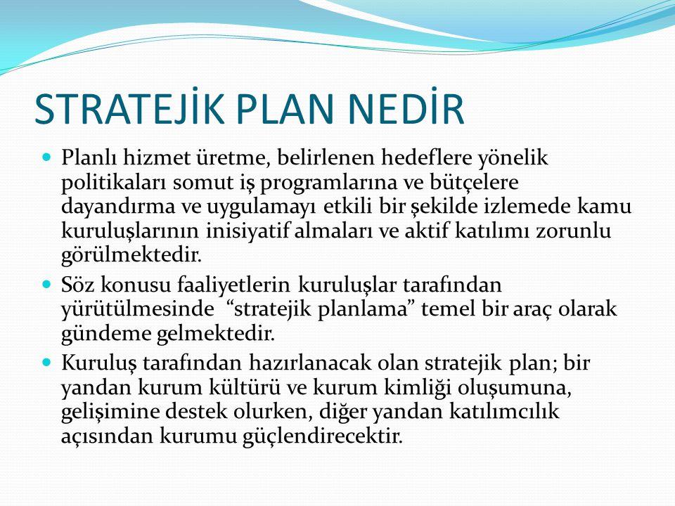 STRATEJİK PLAN NEDİR Planlı hizmet üretme, belirlenen hedeflere yönelik politikaları somut iş programlarına ve bütçelere dayandırma ve uygulamayı etki