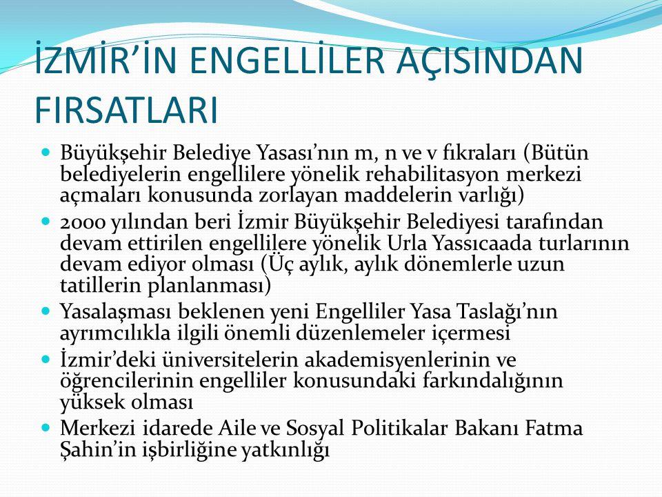 İZMİR'İN ENGELLİLER AÇISINDAN FIRSATLARI Büyükşehir Belediye Yasası'nın m, n ve v fıkraları (Bütün belediyelerin engellilere yönelik rehabilitasyon me