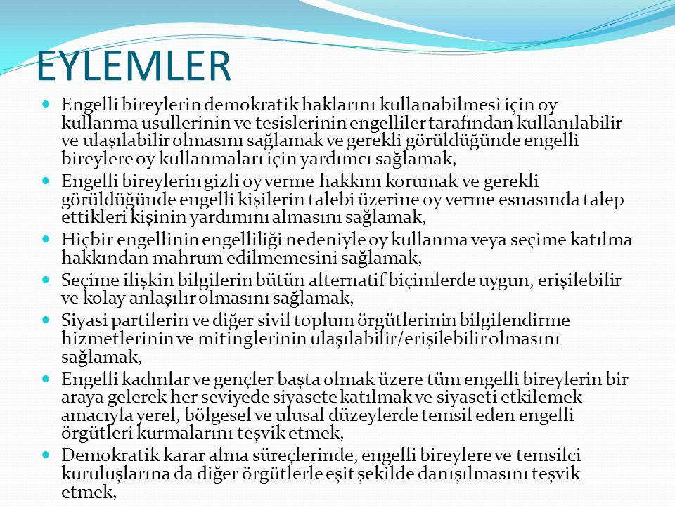 EYLEMLER Engelli bireylerin demokratik haklarını kullanabilmesi için oy kullanma usullerinin ve tesislerinin engelliler tarafından kullanılabilir ve u