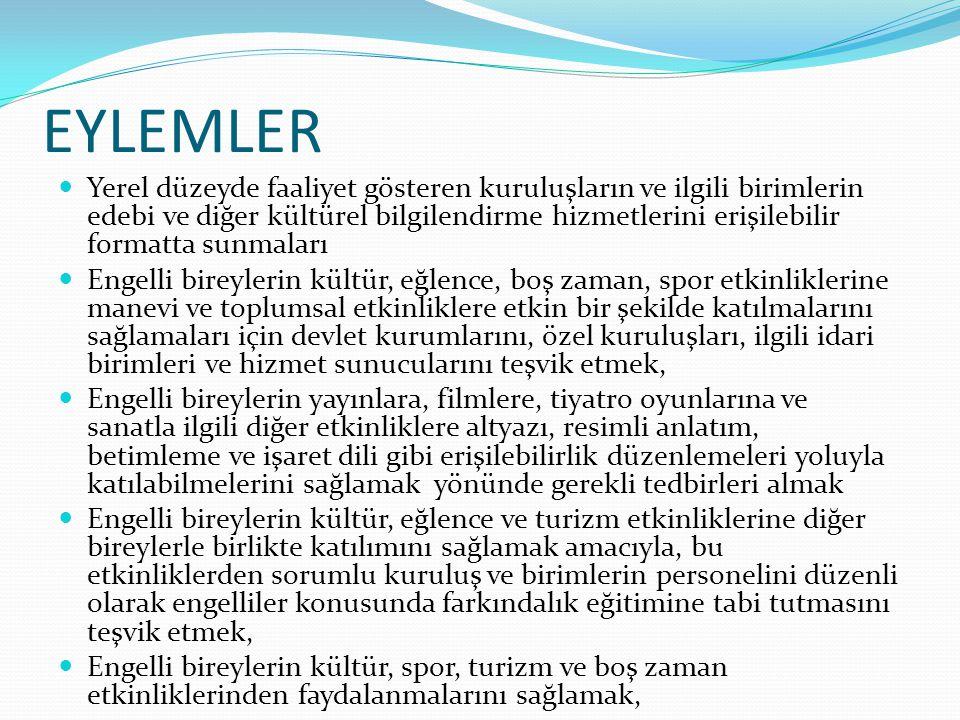 EYLEMLER Yerel düzeyde faaliyet gösteren kuruluşların ve ilgili birimlerin edebi ve diğer kültürel bilgilendirme hizmetlerini erişilebilir formatta su