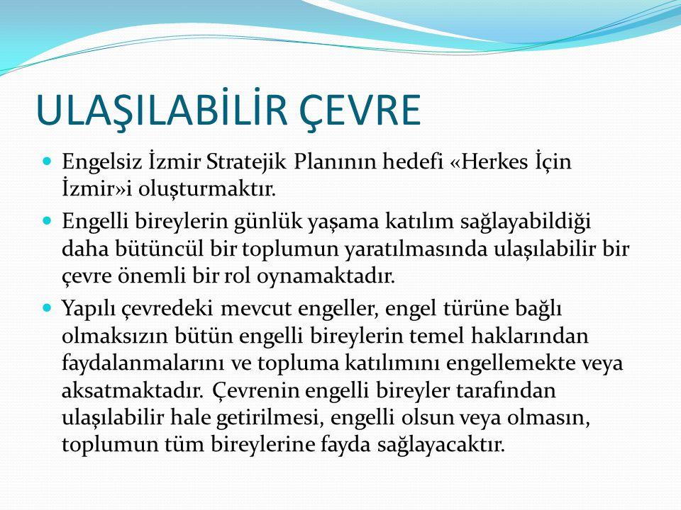 ULAŞILABİLİR ÇEVRE Engelsiz İzmir Stratejik Planının hedefi «Herkes İçin İzmir»i oluşturmaktır. Engelli bireylerin günlük yaşama katılım sağlayabildiğ
