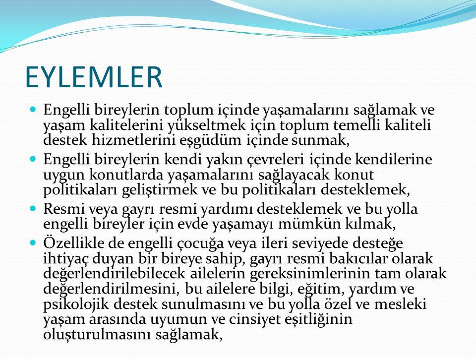EYLEMLER Engelli bireylerin toplum içinde yaşamalarını sağlamak ve yaşam kalitelerini yükseltmek için toplum temelli kaliteli destek hizmetlerini eşgü