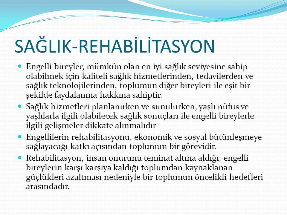 SAĞLIK-REHABİLİTASYON Engelli bireyler, mümkün olan en iyi sağlık seviyesine sahip olabilmek için kaliteli sağlık hizmetlerinden, tedavilerden ve sağl