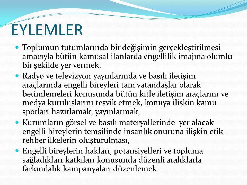 EYLEMLER Toplumun tutumlarında bir değişimin gerçekleştirilmesi amacıyla bütün kamusal ilanlarda engellilik imajına olumlu bir şekilde yer vermek, Rad