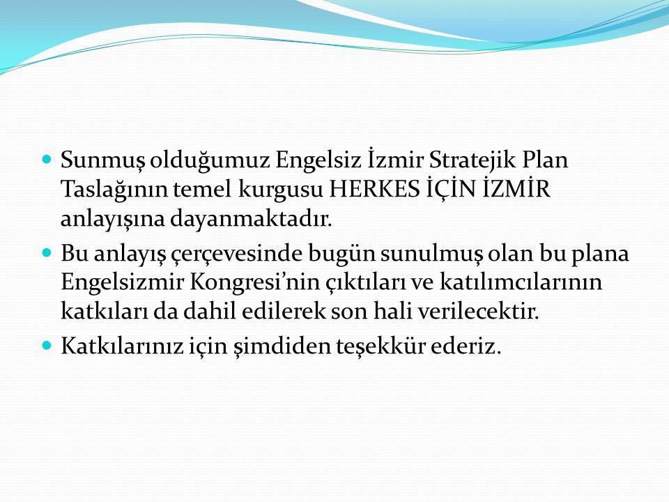 Sunmuş olduğumuz Engelsiz İzmir Stratejik Plan Taslağının temel kurgusu HERKES İÇİN İZMİR anlayışına dayanmaktadır. Bu anlayış çerçevesinde bugün sunu