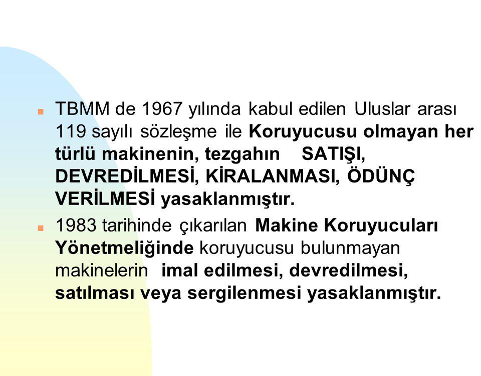 n TBMM de 1967 yılında kabul edilen Uluslar arası 119 sayılı sözleşme ile Koruyucusu olmayan her türlü makinenin, tezgahın SATIŞI, DEVREDİLMESİ, KİRAL