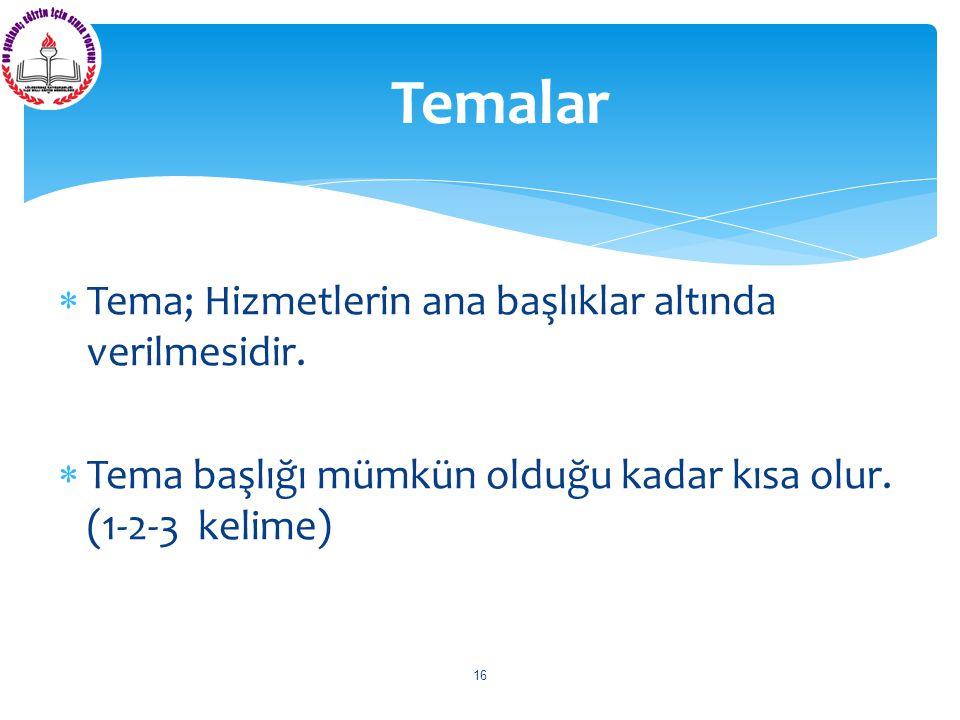  Tema; Hizmetlerin ana başlıklar altında verilmesidir.  Tema başlığı mümkün olduğu kadar kısa olur. (1-2-3 kelime) Temalar 16