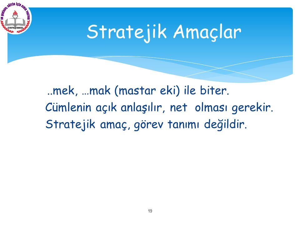 Örnek: Eğitim-öğretim yapmak görev iken, çağa uygun şekilde eğitim-öğretim yapmak stratejik amaçtır.