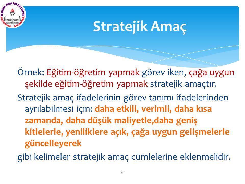 Örnek: Eğitim-öğretim yapmak görev iken, çağa uygun şekilde eğitim-öğretim yapmak stratejik amaçtır. Stratejik amaç ifadelerinin görev tanımı ifadeler