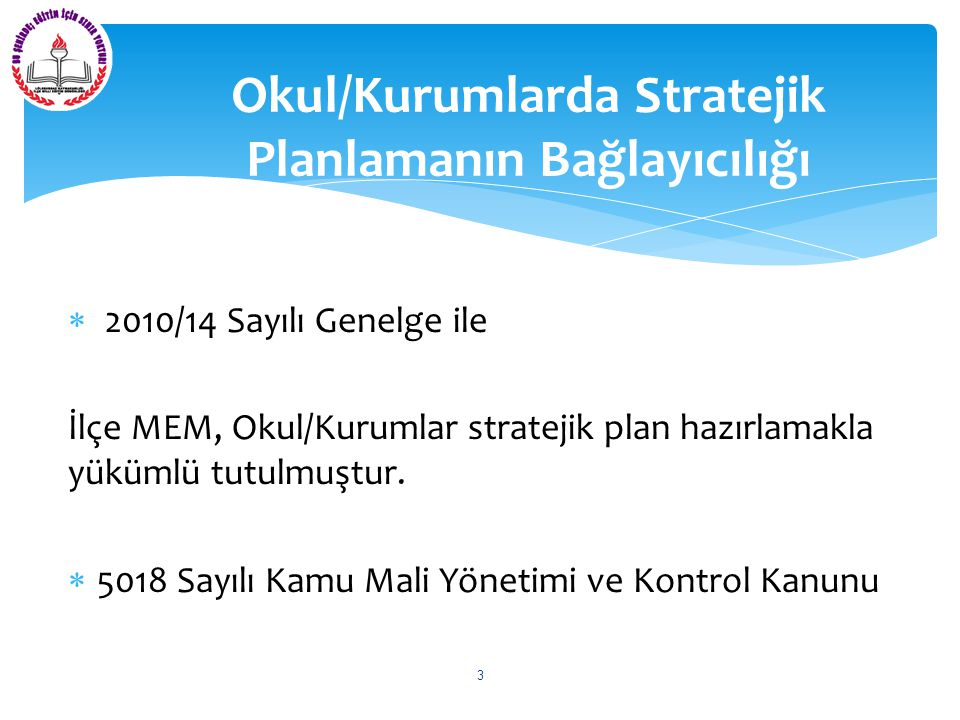  2010/14 Sayılı Genelge ile İlçe MEM, Okul/Kurumlar stratejik plan hazırlamakla yükümlü tutulmuştur.  5018 Sayılı Kamu Mali Yönetimi ve Kontrol Kanu