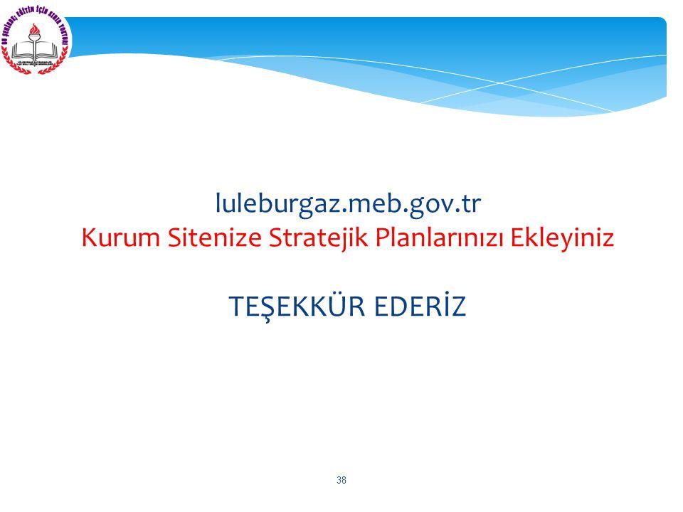 luleburgaz.meb.gov.tr Kurum Sitenize Stratejik Planlarınızı Ekleyiniz TEŞEKKÜR EDERİZ 38
