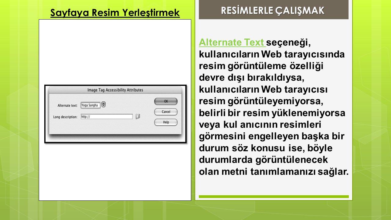 Alternate Text seçeneği, kullanıcıların Web tarayıcısında resim görüntüleme özelliği devre dışı bırakıldıysa, kullanıcıların Web tarayıcısı resim görü