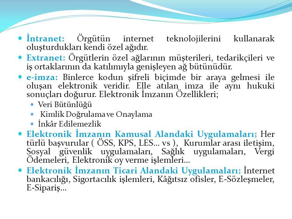 İntranet: Örgütün internet teknolojilerini kullanarak oluşturdukları kendi özel ağıdır. Extranet: Örgütlerin özel ağlarının müşterileri, tedarikçileri