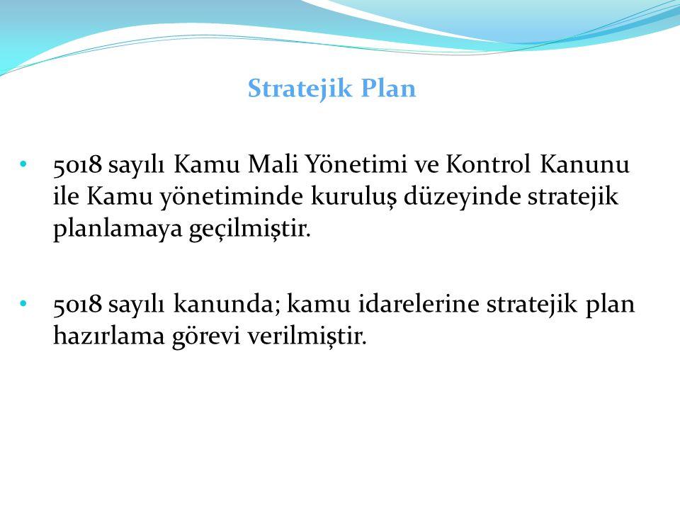 Stratejik Plan 5018 sayılı Kamu Mali Yönetimi ve Kontrol Kanunu ile Kamu yönetiminde kuruluş düzeyinde stratejik planlamaya geçilmiştir. 5018 sayılı k