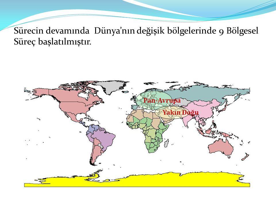 Sürecin devamında Dünya'nın değişik bölgelerinde 9 Bölgesel Süreç başlatılmıştır. Pan-Avrupa Yakın Doğu