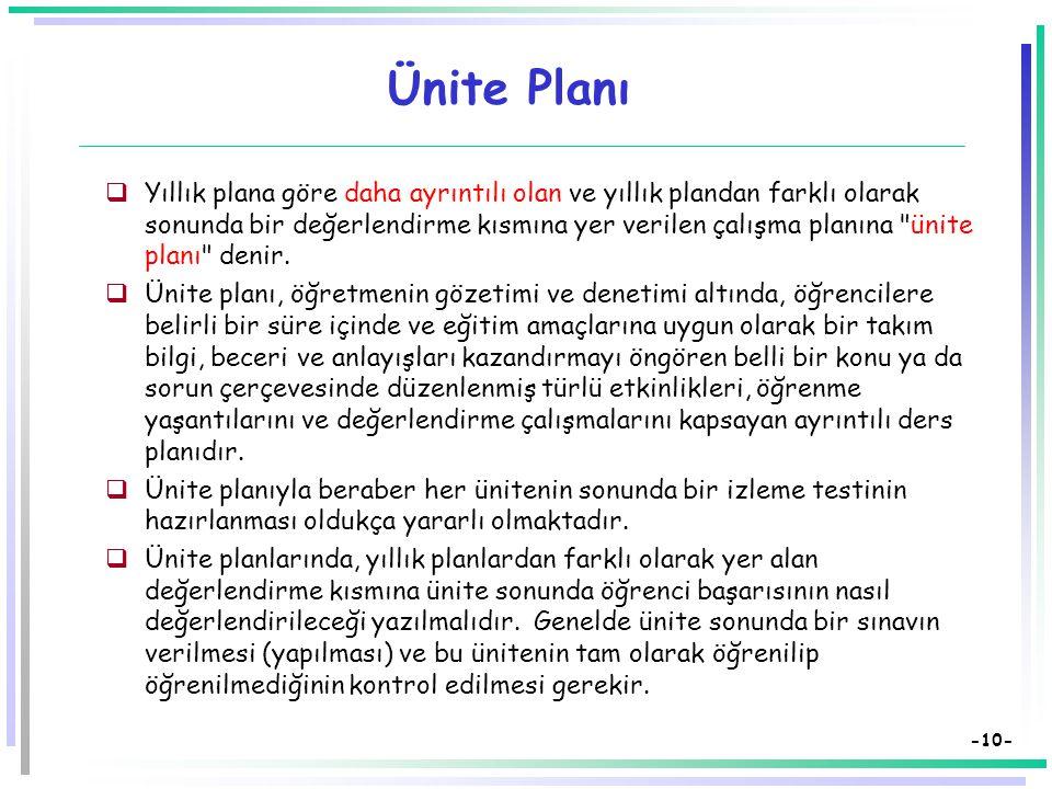 -9- Ünitelere Bölünmüş Yıllık Plan  Bir öğretmenin öğretim süresince ders vermekle yükümlü olduğu sınıflarda,  program uyarınca belli üniteleri ya d