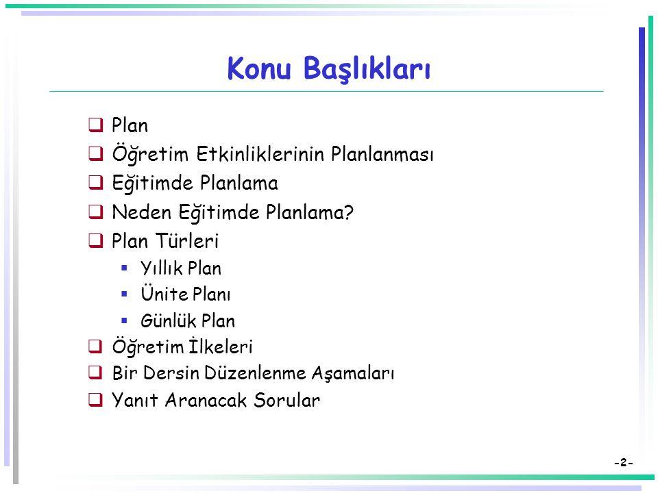 -2- Konu Başlıkları  Plan  Öğretim Etkinliklerinin Planlanması  Eğitimde Planlama  Neden Eğitimde Planlama.