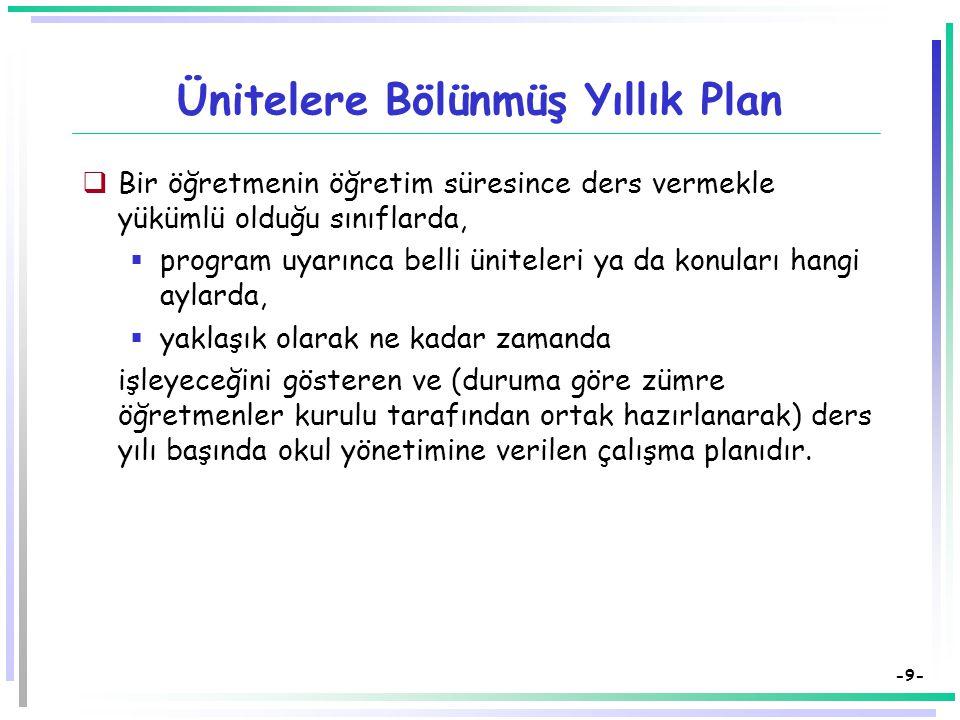 -8- Yıllık Plan Bir öğretim yılı içinde yapılacak tüm öğretim etkinliklerinin planlandığı çalışma planına