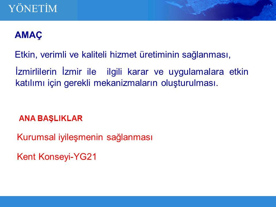 Etkin, verimli ve kaliteli hizmet üretiminin sağlanması, İzmirlilerin İzmir ile ilgili karar ve uygulamalara etkin katılımı için gerekli mekanizmaları