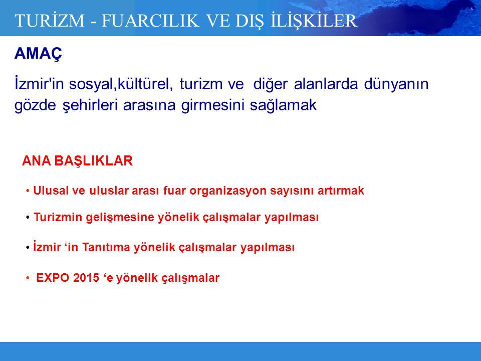İzmir'in sosyal,kültürel, turizm ve diğer alanlarda dünyanın gözde şehirleri arasına girmesini sağlamak TURİZM - FUARCILIK VE DIŞ İLİŞKİLER Ulusal ve