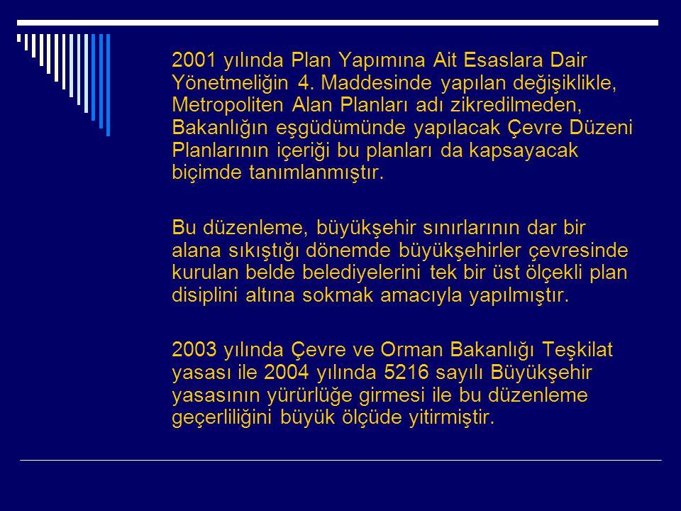2001 yılında Plan Yapımına Ait Esaslara Dair Yönetmeliğin 4.