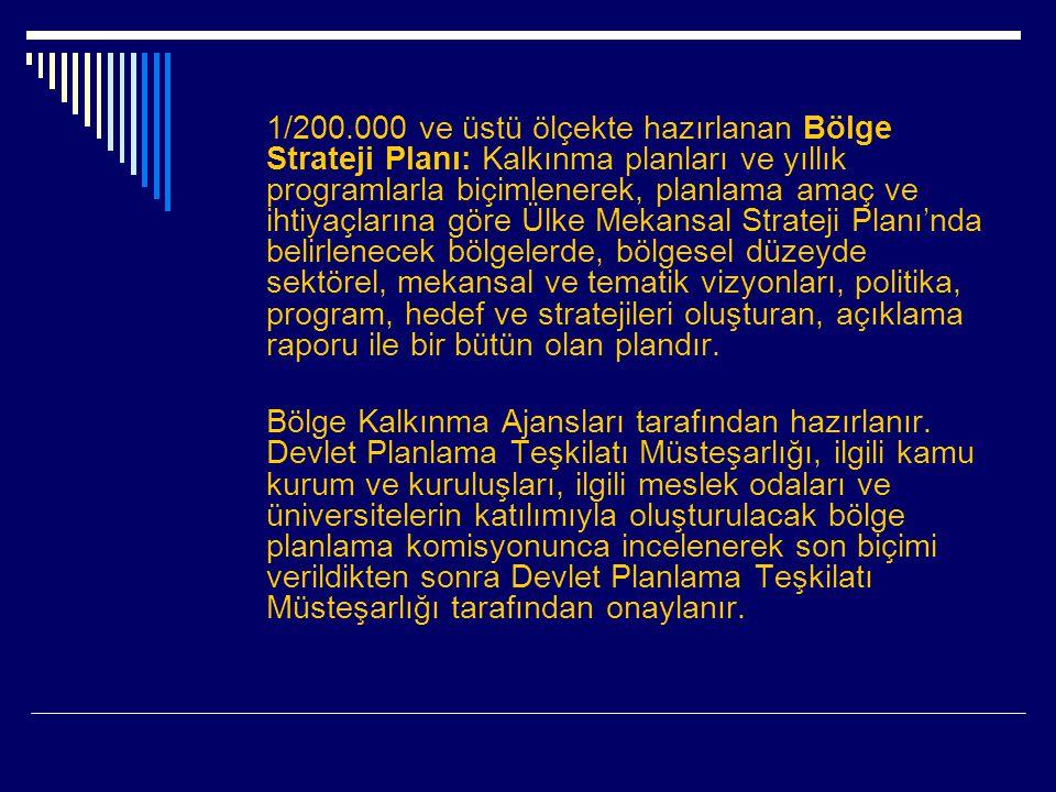 1/200.000 ve üstü ölçekte hazırlanan Bölge Strateji Planı: Kalkınma planları ve yıllık programlarla biçimlenerek, planlama amaç ve ihtiyaçlarına göre Ülke Mekansal Strateji Planı'nda belirlenecek bölgelerde, bölgesel düzeyde sektörel, mekansal ve tematik vizyonları, politika, program, hedef ve stratejileri oluşturan, açıklama raporu ile bir bütün olan plandır.