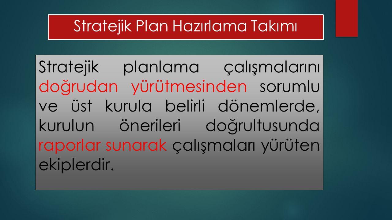 Stratejik Plan Hazırlama Takımı Stratejik planlama çalışmalarını doğrudan yürütmesinden sorumlu ve üst kurula belirli dönemlerde, kurulun önerileri doğrultusunda raporlar sunarak çalışmaları yürüten ekiplerdir.
