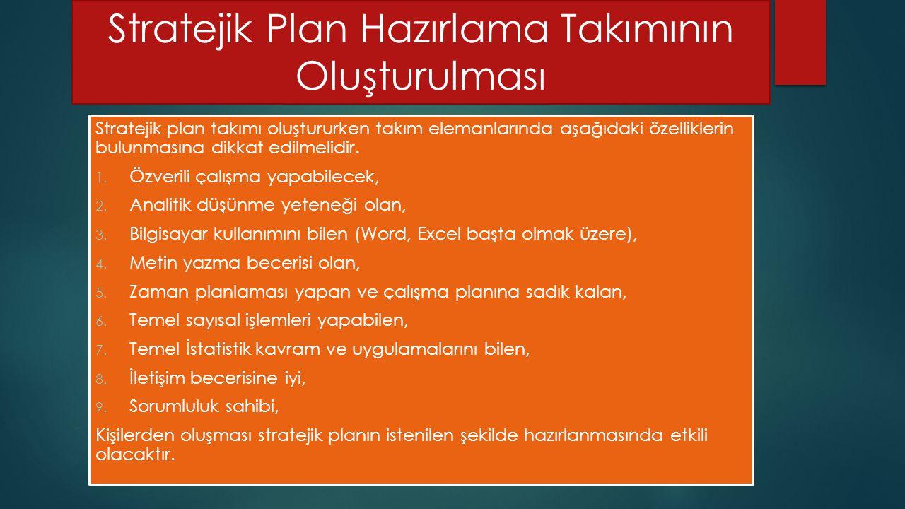 Stratejik Plan Hazırlama Takımının Oluşturulması Stratejik plan takımı oluştururken takım elemanlarında aşağıdaki özelliklerin bulunmasına dikkat edilmelidir.
