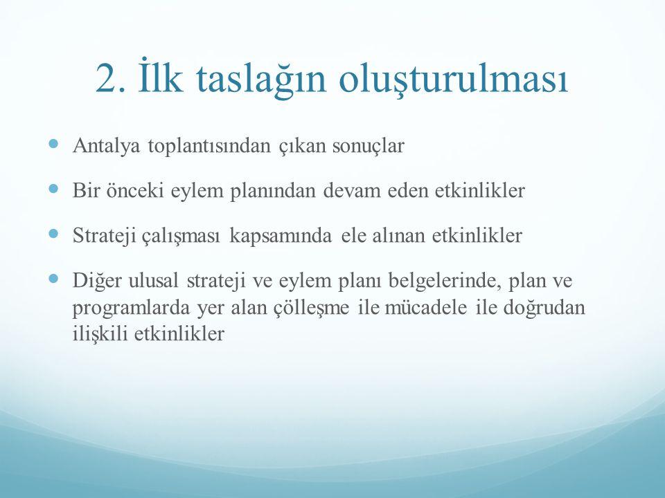 3.Kurumların değerlendirmeleri İlk taslağa kurumlardan geri dönüşlerin alınması.