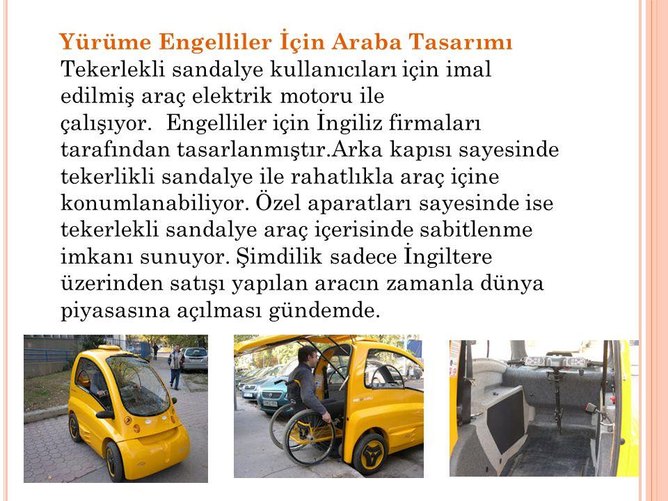 Yürüme Engelliler İçin Araba Tasarımı Tekerlekli sandalye kullanıcıları için imal edilmiş araç elektrik motoru ile çalışıyor. Engelliler için İngiliz