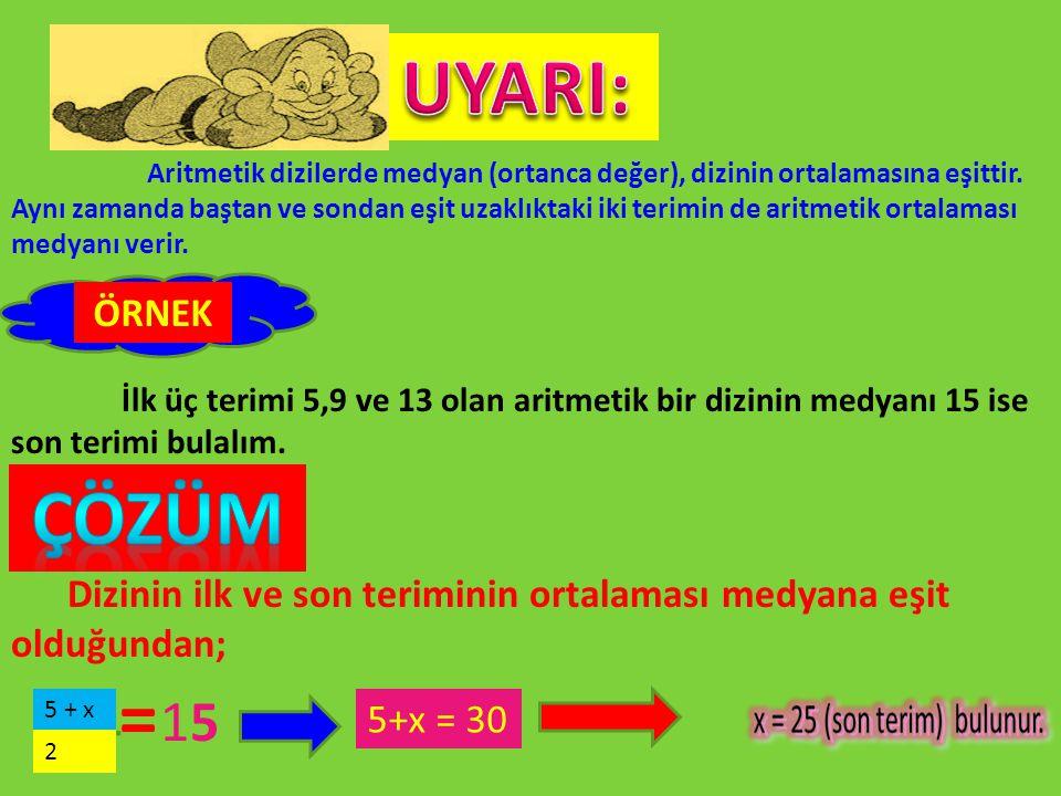 Aritmetik dizilerde medyan (ortanca değer), dizinin ortalamasına eşittir. Aynı zamanda baştan ve sondan eşit uzaklıktaki iki terimin de aritmetik orta