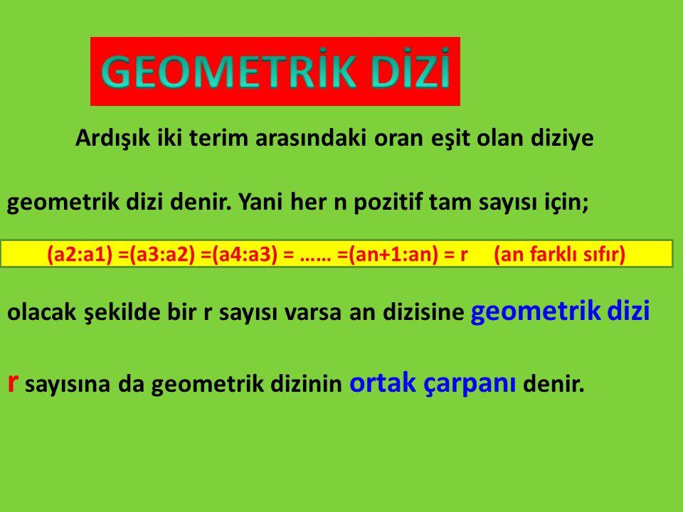 Ardışık iki terim arasındaki oran eşit olan diziye geometrik dizi denir. Yani her n pozitif tam sayısı için; olacak şekilde bir r sayısı varsa an dizi