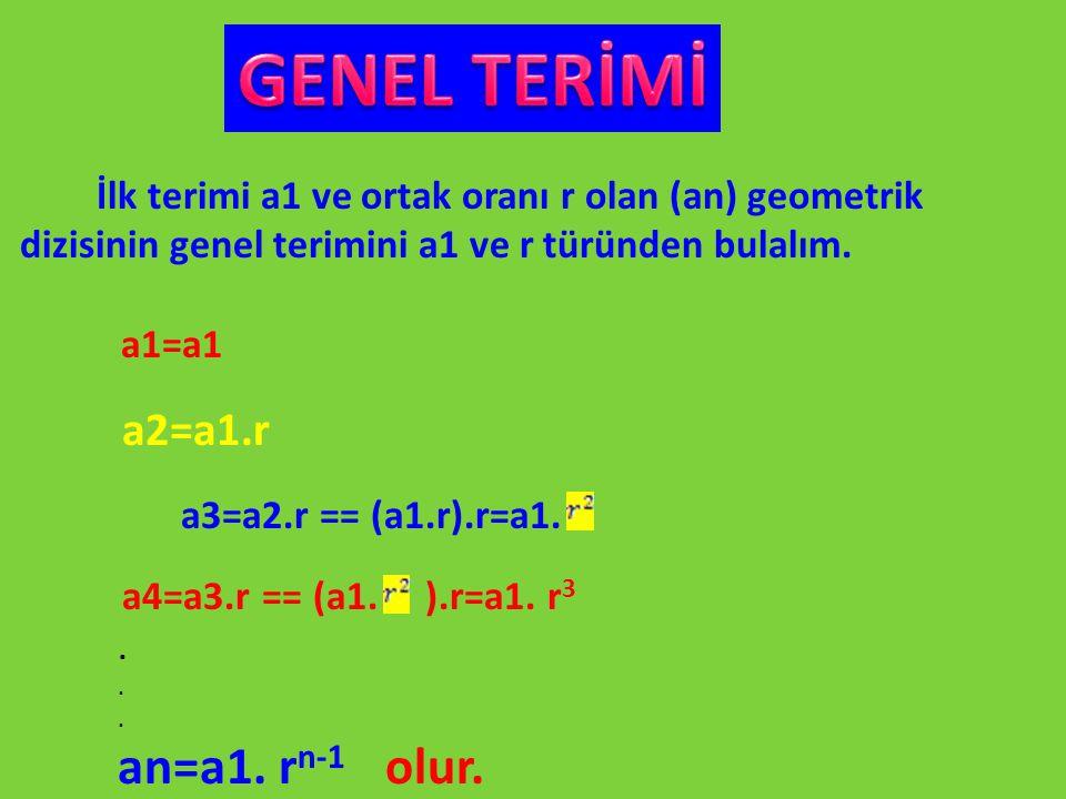 İlk terimi a1 ve ortak oranı r olan (an) geometrik dizisinin genel terimini a1 ve r türünden bulalım. a1=a1 a2=a1.r a3=a2.r == (a1.r).r=a1. a4=a3.r ==