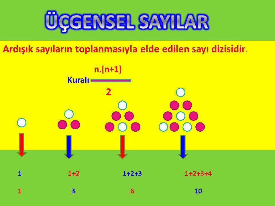 Ardışık sayıların toplanmasıyla elde edilen sayı dizisidir. n.[n+1] Kuralı 2 1 1+2 1+2+3 1+2+3+4 1 3 6 10