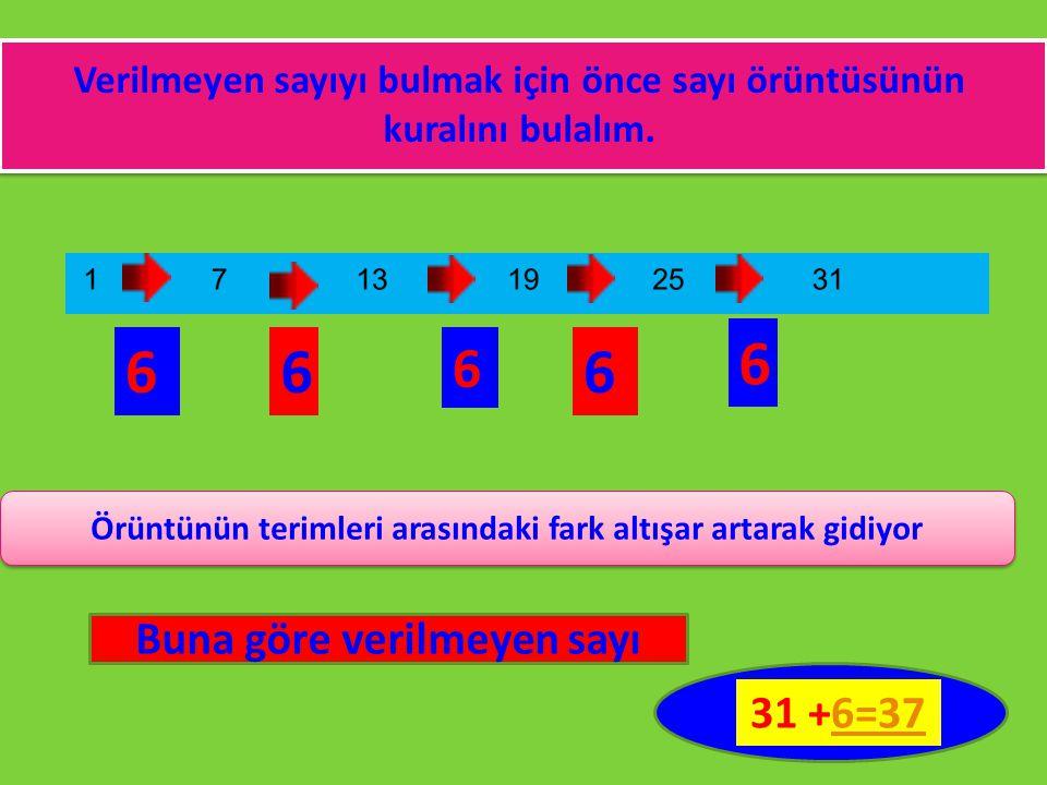 Verilmeyen sayıyı bulmak için önce sayı örüntüsünün kuralını bulalım. 66 6 6 6 Örüntünün terimleri arasındaki fark altışar artarak gidiyor Buna göre v