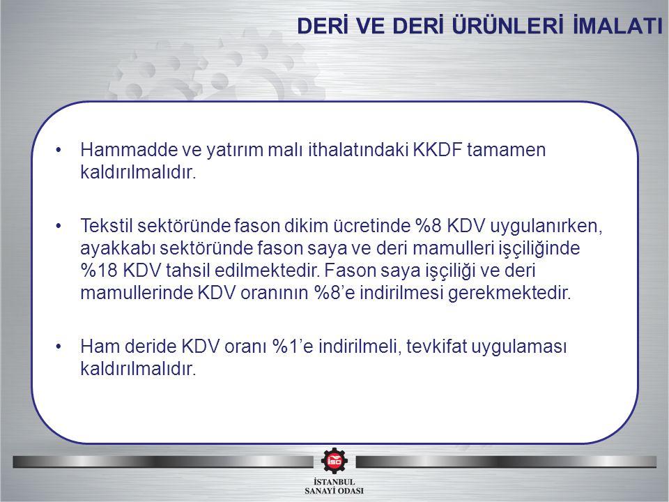 DERİ VE DERİ ÜRÜNLERİ İMALATI Hammadde ve yatırım malı ithalatındaki KKDF tamamen kaldırılmalıdır.