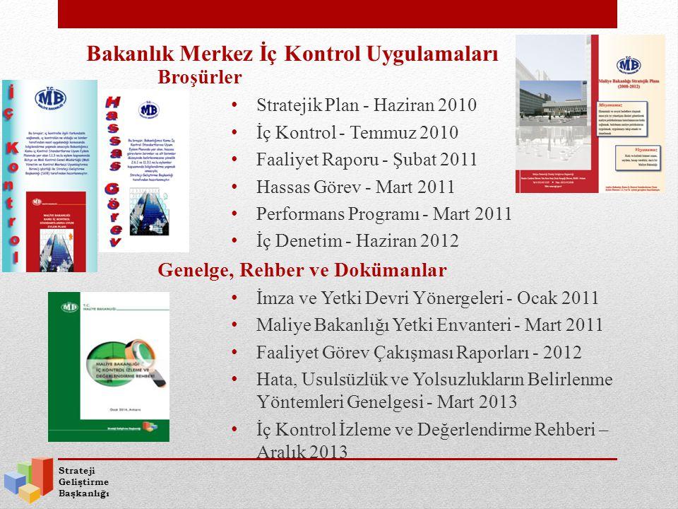 Strateji Geliştirme Başkanlığı Operasyonel Planlar - Aralık 2010 Yıllık hazırlanması Operasyonel hedefler - Aralık 2011 Görev Tanım Rehberleri - Aralık 2010 Personelin görevlerini ve bu görevlere ilişkin yetki ve yetkinlikleri Görevli personelin yedekleri (faaliyetlerin sürekliliği) Bakanlık Merkez İç Kontrol Uygulamaları