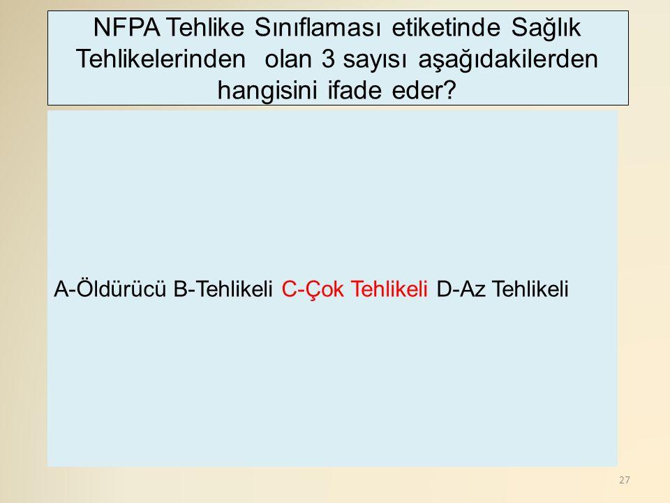 27 A-Öldürücü B-Tehlikeli C-Çok Tehlikeli D-Az Tehlikeli NFPA Tehlike Sınıflaması etiketinde Sağlık Tehlikelerinden olan 3 sayısı aşağıdakilerden hangisini ifade eder?