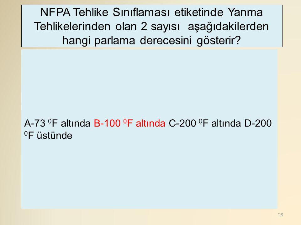 28 A-73 0 F altında B-100 0 F altında C-200 0 F altında D-200 0 F üstünde NFPA Tehlike Sınıflaması etiketinde Yanma Tehlikelerinden olan 2 sayısı aşağıdakilerden hangi parlama derecesini gösterir?