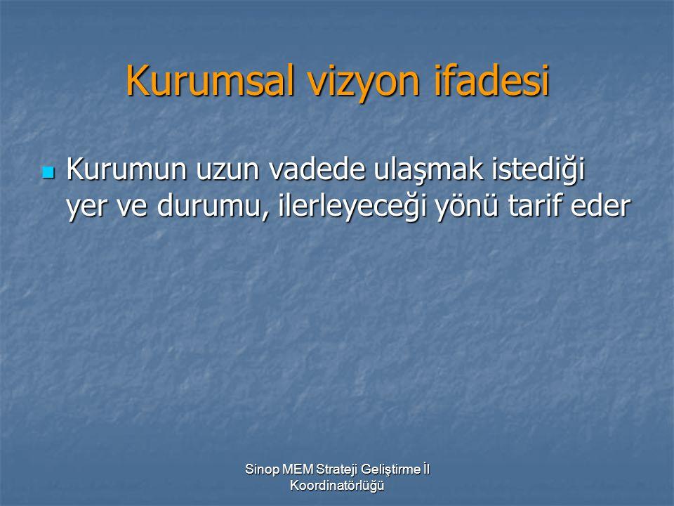 Sinop MEM Strateji Geliştirme İl Koordinatörlüğü Kurumsal vizyon ifadesi Kurumun uzun vadede ulaşmak istediği yer ve durumu, ilerleyeceği yönü tarif e
