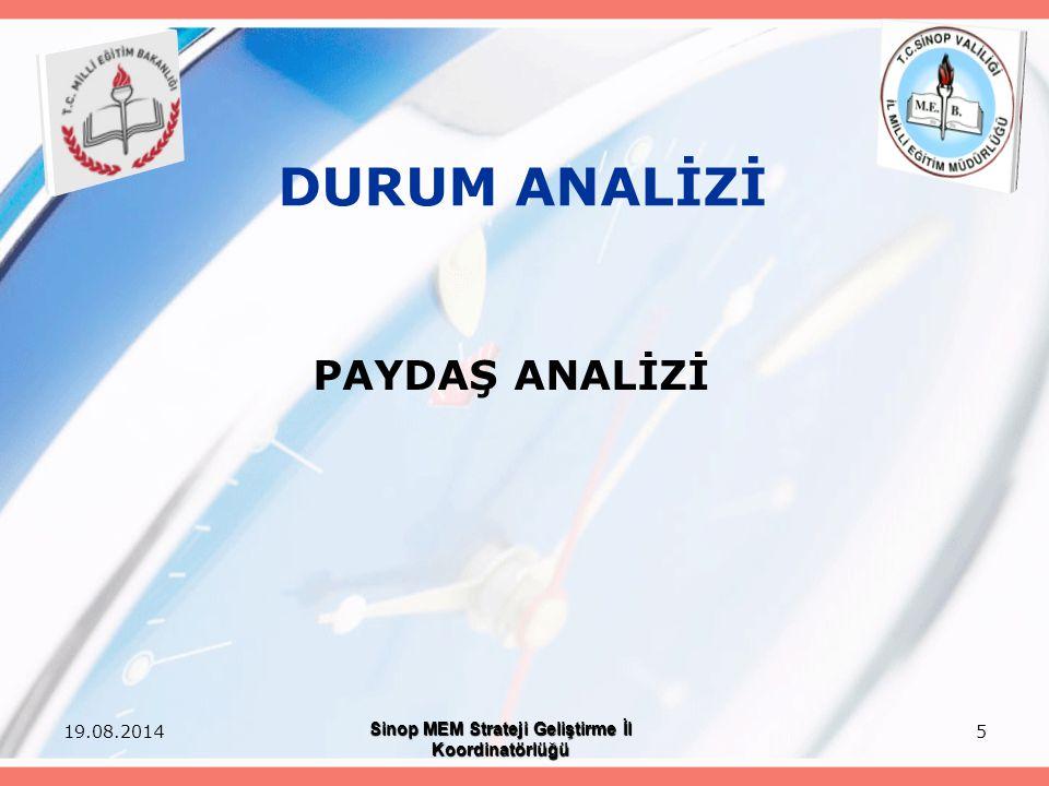 5 DURUM ANALİZİ PAYDAŞ ANALİZİ 19.08.2014 Sinop MEM Strateji Geliştirme İl Koordinatörlüğü