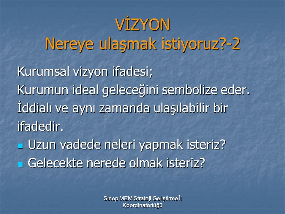 Sinop MEM Strateji Geliştirme İl Koordinatörlüğü VİZYON Nereye ulaşmak istiyoruz?-2 Kurumsal vizyon ifadesi; Kurumun ideal geleceğini sembolize eder.