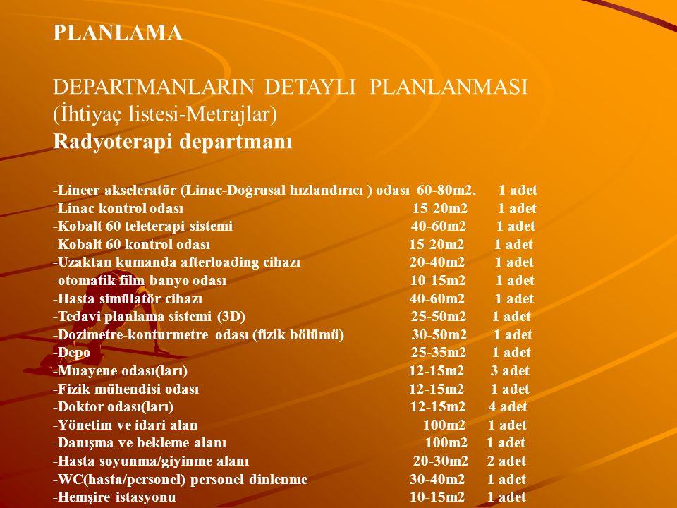 PLANLAMA DEPARTMANLARIN DETAYLI PLANLANMASI (İhtiyaç listesi-Metrajlar) Radyoterapi departmanı -Lineer akseleratör (Linac-Doğrusal hızlandırıcı ) odası 60-80m2.