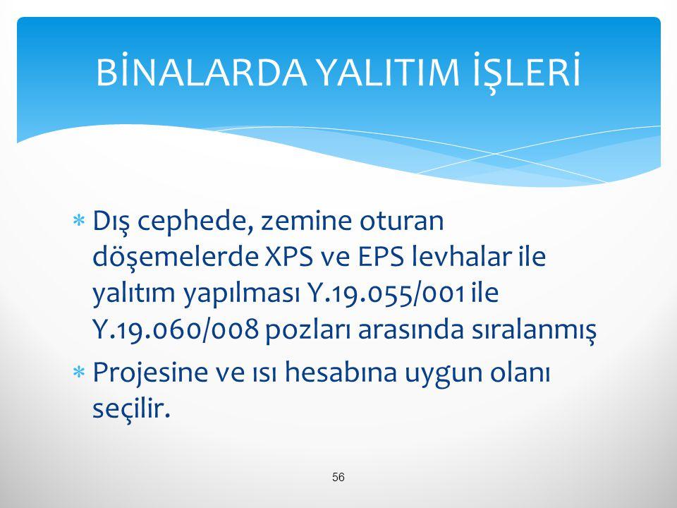  Dış cephede, zemine oturan döşemelerde XPS ve EPS levhalar ile yalıtım yapılması Y.19.055/001 ile Y.19.060/008 pozları arasında sıralanmış  Projesi
