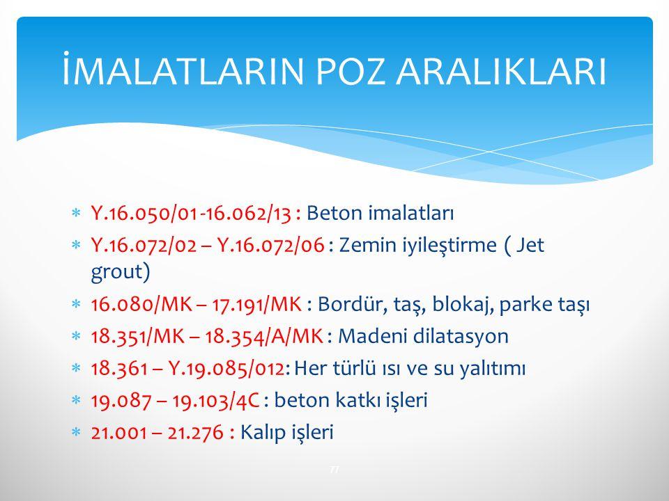  Y.16.050/01 -16.062/13 : Beton imalatları  Y.16.072/02 – Y.16.072/06 : Zemin iyileştirme ( Jet grout)  16.080/MK – 17.191/MK : Bordür, taş, blokaj