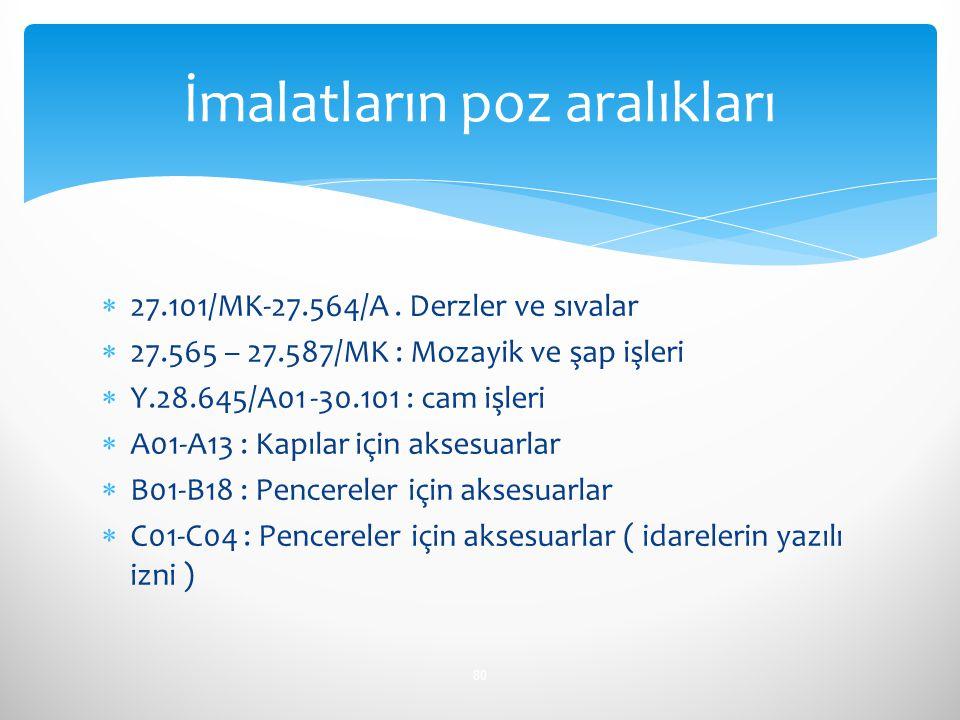  27.101/MK-27.564/A. Derzler ve sıvalar  27.565 – 27.587/MK : Mozayik ve şap işleri  Y.28.645/A01 -30.101 : cam işleri  A01-A13 : Kapılar için aks