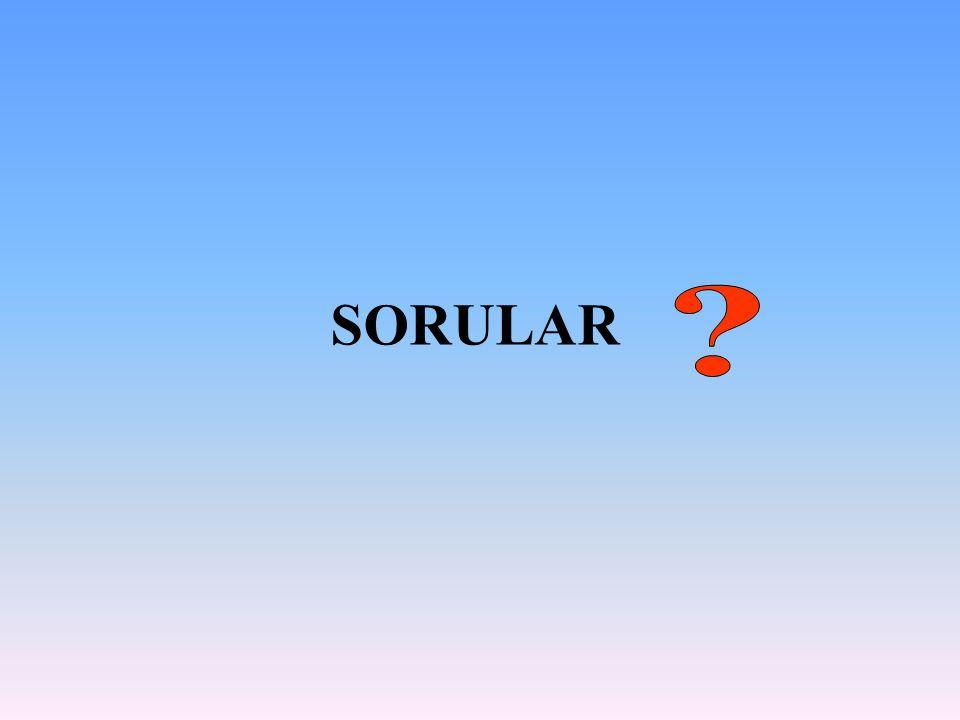 SORULAR Daire şeklinde Düz beyaz zemin üzerindeki mavi yazılarda Kare şeklinde Üçgen şeklinde 6-Mavi renk aşağıdakilerden hangisinde kullanılırsa emniyet rengi olarak kabul edilir