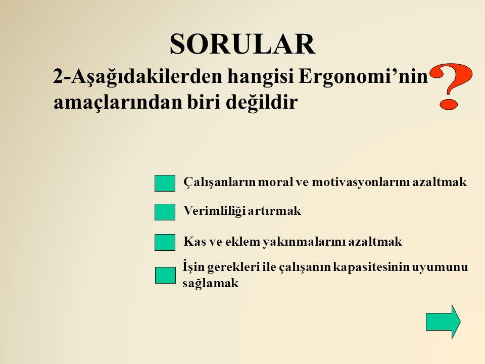 SORULAR Çalışanların moral ve motivasyonlarını azaltmak Verimliliği artırmak 2-Aşağıdakilerden hangisi Ergonomi'nin amaçlarından biri değildir Kas ve