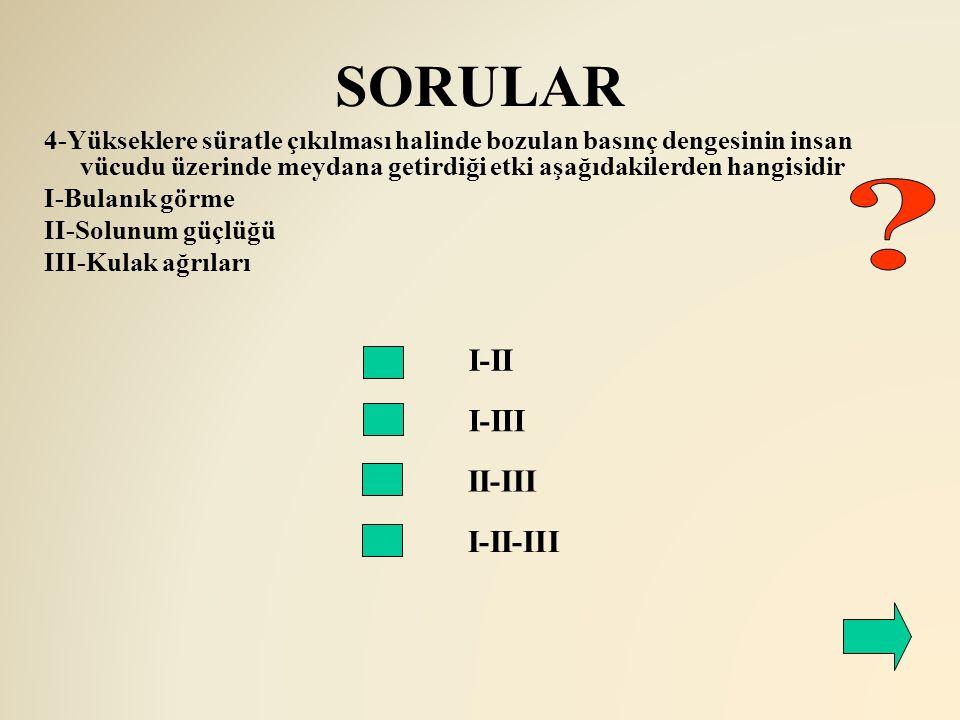 SORULAR I-II I-III 4-Yükseklere süratle çıkılması halinde bozulan basınç dengesinin insan vücudu üzerinde meydana getirdiği etki aşağıdakilerden hangi