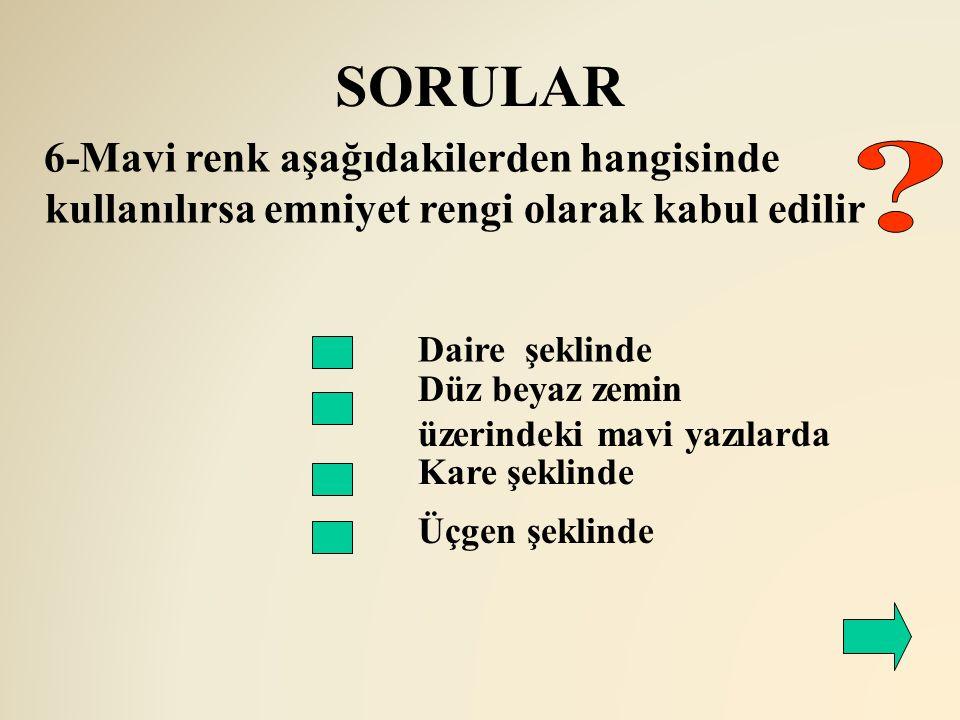 SORULAR Daire şeklinde Düz beyaz zemin üzerindeki mavi yazılarda Kare şeklinde Üçgen şeklinde 6-Mavi renk aşağıdakilerden hangisinde kullanılırsa emni